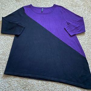 Massini women large purple black asymmetrical top